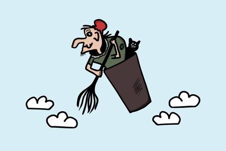 Baba Yaga witch flying with a black cat and a broom in a basket. Cartoon witch from russian fairy tales. Isolated vector drawing.
