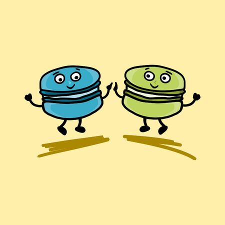 Two happy macaroon friends dancing. Vintage characters of a tasty dessert food with smile.