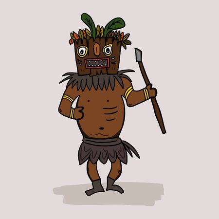 Crazy cartoon dancing shaman. Funny african or american ethnic shaman character with a wooden mask holding a weapon. Childish drawing. Isolated hand drawn illustration. Ilustracja