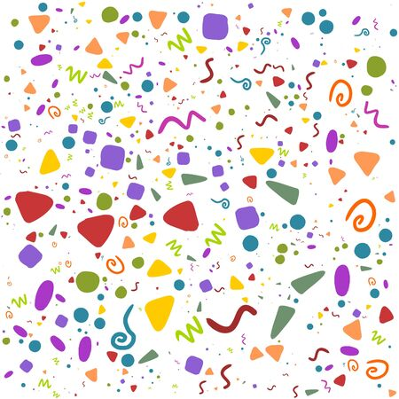 Seamless retro festive carnival pattern with colorful shapes on white background. Different sizes and shapes for new year or birthday party. Vector cartoon backdrop design for tee print.