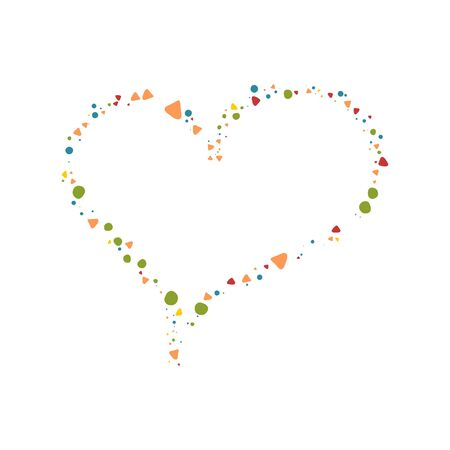 Festive heart frame of colorful shapes on white background. Great doodle design for tee print or wrapping. Symbol of love in modern design.