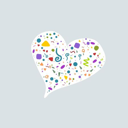 Festive heart filled with colorful shapes on white background. Great doodle design for tee print or wrapping. Symbol of love in modern design.