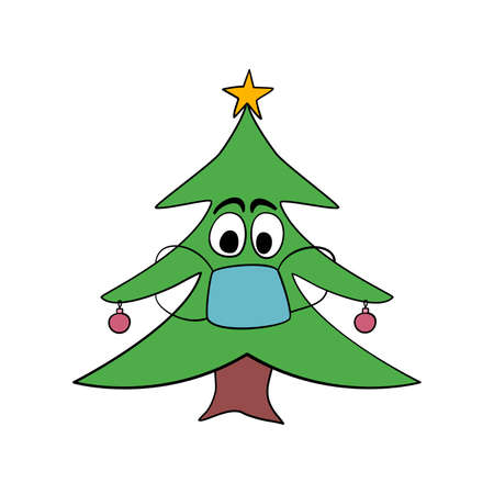 Christmas tree character with face mask. Crazy drawing of a Christmas mascot with face covered to prevent getting covid 19 corona virus.
