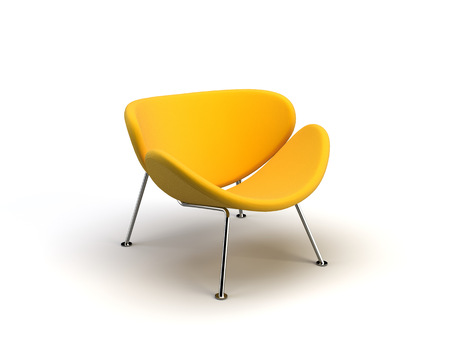 yellow modern chair on the white background