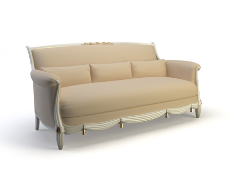 classic 3d sofa on the white background 版權商用圖片