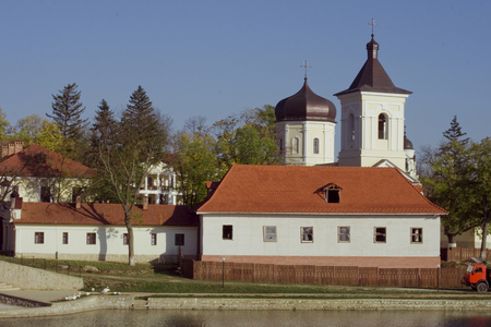 old european monastery on the river