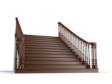 3d stairs on the white Stock Photo
