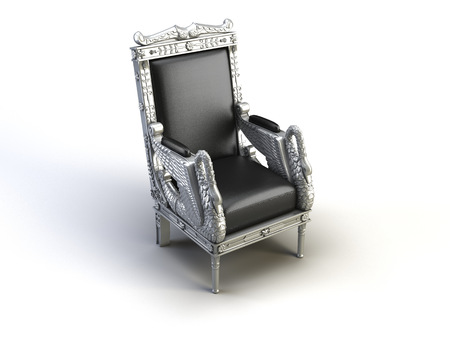 silver chair on the white background