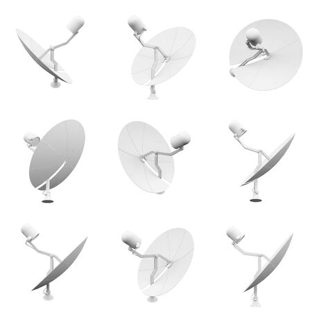 Satellite antenna isolated on the white background 3D Rendering 版權商用圖片