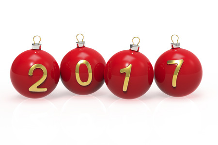 gold numbers: Red Christmas balls with gold numbers 2017 on a white background