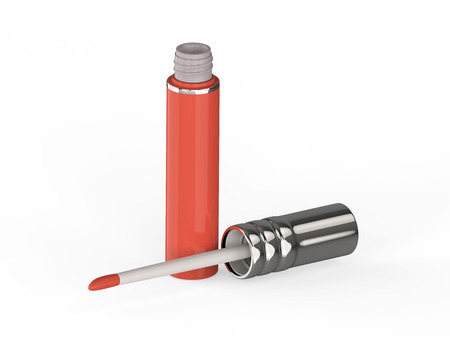 3D illustration pink red lip gloss on a white background Stock Photo