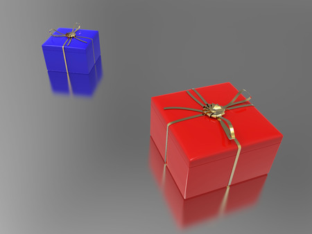 3D illustration two blue red gifts on a gray background Stock Photo