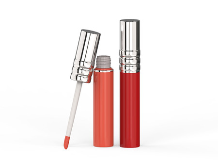 3D illustration two red pink lip gloss on a white background