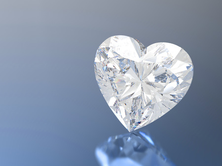 3D illustration diamond heart stone on a blue background Stock Photo