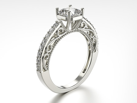 platinum: 3D illustration silver ring with diamonds on a white background Stock Photo