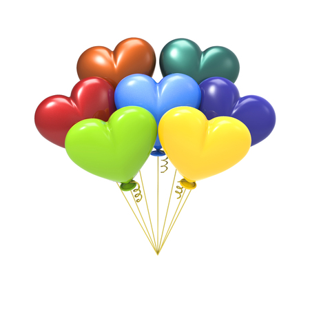 3D illustration colour balloon hearts on a white background