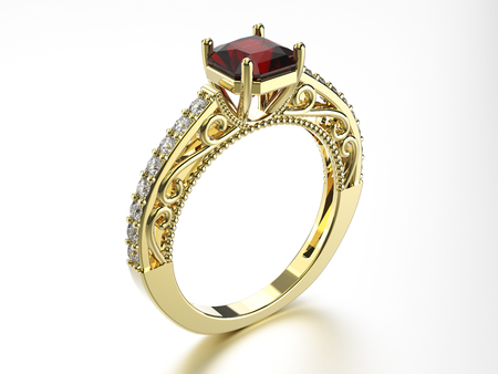 platinum: 3D illustration gold ring with diamonds and ruby on a white background