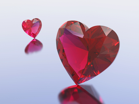 3D illustration two red diamonds hearts on a blue background