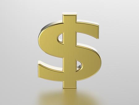 savings account: 3D illustration golden dollar on a gray background