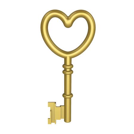 door lock love: 3D illustration gold key on white background