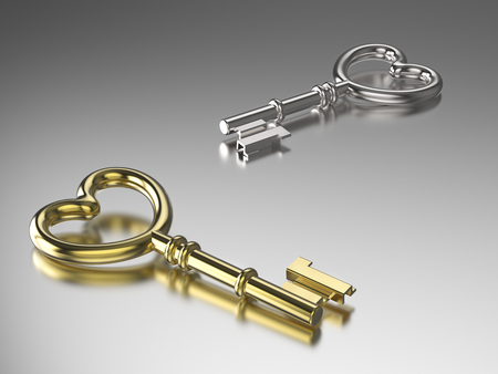 door lock love: 3D illustration gold and silver key on grey background Stock Photo