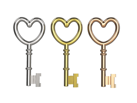 3D illustration three keys silver gold copper on white background