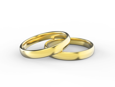 3D illustration gold wedding ring on a white background Stock Photo
