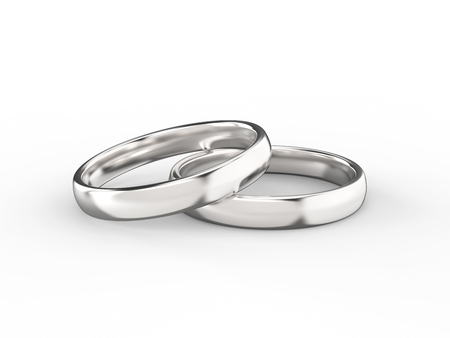 3D illustration gold silver wedding ring on a white background