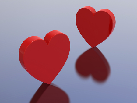 brightness: 3D illustration two red hearts on a blue background Stock Photo