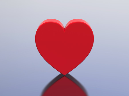 3D illustration red heart on a blue background