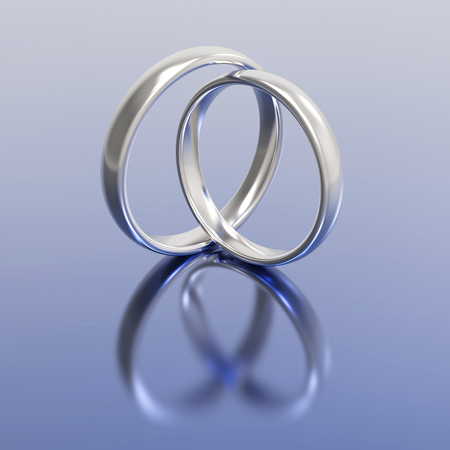 platinum: 3D illustration gold silver wedding rings on a blue background Stock Photo