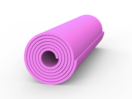 3D illustration pink yoga mat on a white background Stock Photo