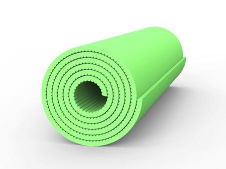 3D illustration green yoga mat on a white background