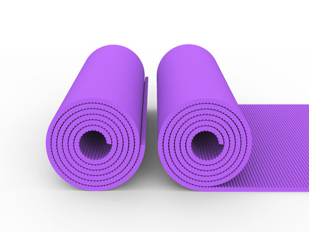 3D illustration two purple yoga mat on a white background