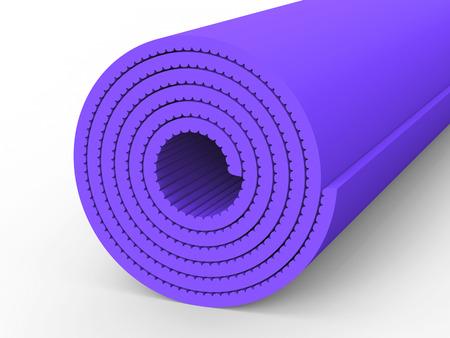 3D illustration purple yoga mat on a white background