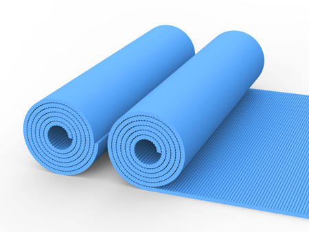 3D illustration two blue yoga mat on a white background Stock Photo
