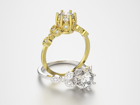 3D illustration two gold and silver rings with diamonds on a grey background