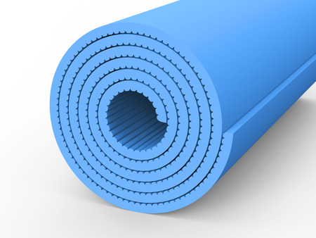 3D illustration blue yoga mat on a white background
