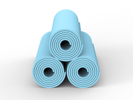 3D illustration three blue yoga mat on a white background