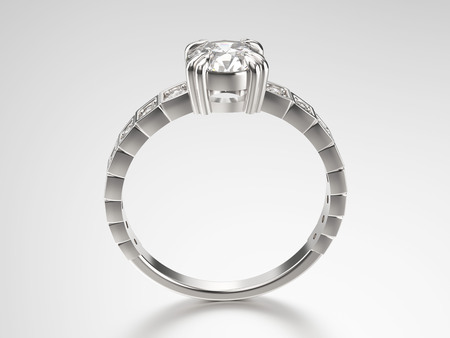 platinum: 3D illustration silver ring with diamonds on a grey background