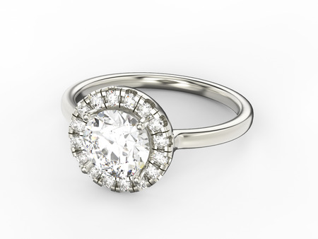 platinum: 3D illustration gold silver ring with diamonds on a white background