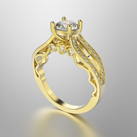 3D illustration gold ring with diamonds on a grey background