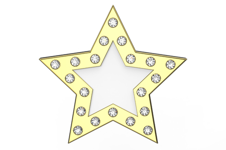 3D illustration gold star with diamonds on a white background