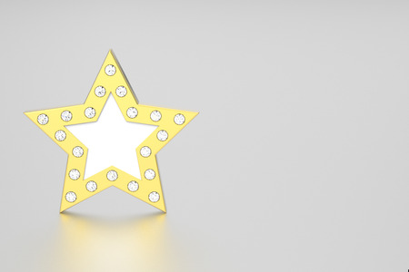3D illustration gold star with diamonds on a grey background Stock Photo