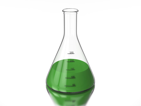 3D rendering illustration chemistry bulb with a green liquid on a white background