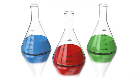3D rendering illustration chemistry bulb with a green, red, blue liquid on a white background