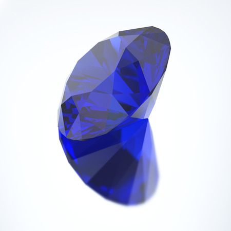 zafiro: 3D illustration diamond blue sapphire with reflection on a gray background