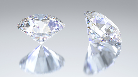 ruby: 3D illustration two diamonds with reflection on a gray background Stock Photo