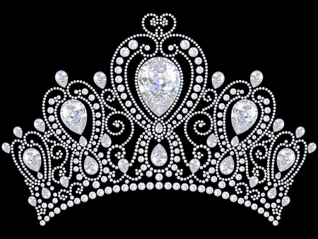 3D illustration diamond crown tiara on a black background
