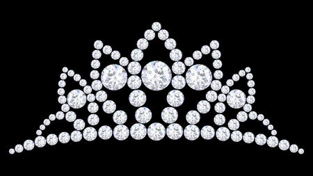 3D illustration diamond crown tiara with glittering precious stones  on a black background